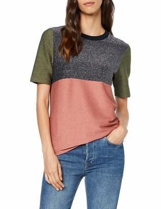 Scotch & Soda Maison Women's Colour Block Lurex Short Sleeve Tee T-Shirt
