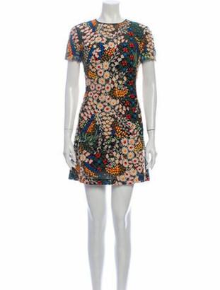 Valentino Floral Print Mini Dress Black