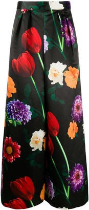 Alice + Olivia Floral Print Wide-Leg Trousers