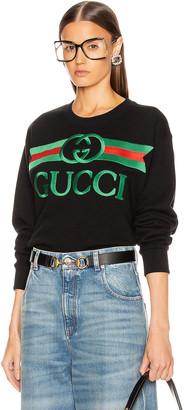 Gucci Oversize Sweatshirt in Black & Multicolor   FWRD