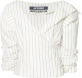 Jacquemus striped ruffled-sleeve blouse - women - Cotton/Linen/Flax - 38