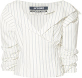 Jacquemus striped ruffled-sleeve blouse - women - Cotton/Linen/Flax - 42