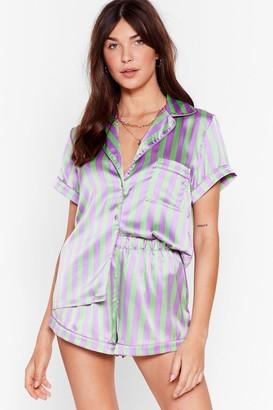 Nasty Gal Womens Satin Stripe Button Through PJ Short Set - Mint