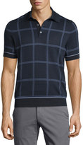Brioni Short-Sleeve Windowpane Pullover, Blue Solid