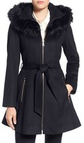 Laundry by Shelli Segal Women's By Shelly Segal Faux Fur Trim Wool Blend Fit & Flare Coat