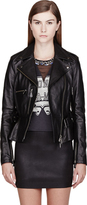 McQ by Alexander McQueen Black Pebbled Leather Biker Jacket