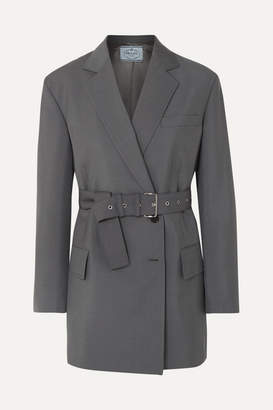 Prada Belted Mohair And Wool-blend Blazer - Gray