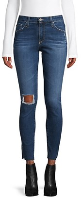 AG Jeans High-Rise Distressed Skinny Ankle Jeans