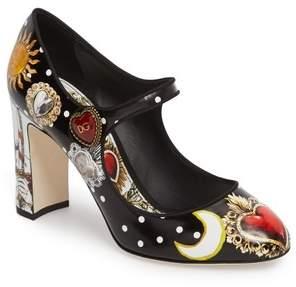 Dolce & Gabbana Button Card Print Mary Jane Pump