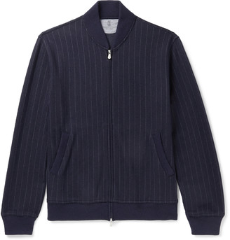Brunello Cucinelli Pinstriped Cashmere And Cotton-Blend Bomber Jacket