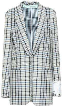 Off-White Checked cotton and silk blazer