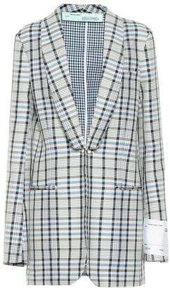 Off-White Off White Checked cotton and silk blazer