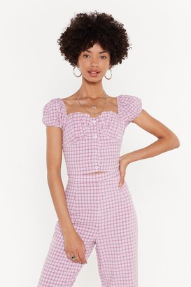 Nasty Gal Womens Square You At Gingham Bustier Crop Top - pink - 14