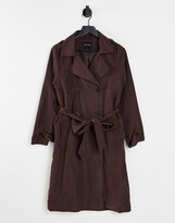 Thumbnail for your product : Brave Soul vanity belted maxi coat in chocolate brown