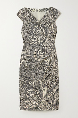 Max Mara Vosci Wrap-effect Paisley-print Cotton Dress - Black