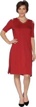 Belle By Kim Gravel TripleLuxe Knit Cold Shoulder Dress