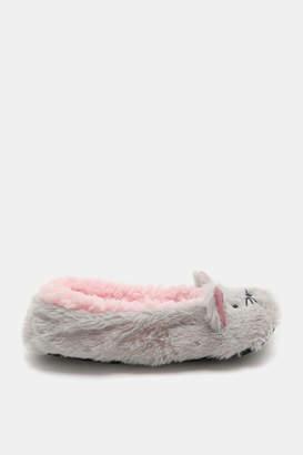 Ardene Faux Fur Cat Face Ballerina Slippers