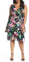 Tahari Plus Size Women's Faux Wrap Dress