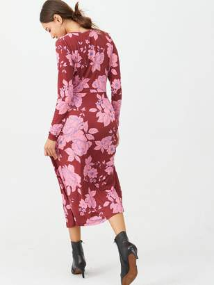 Very Floral Gathered Waist Midi Dress - Pink