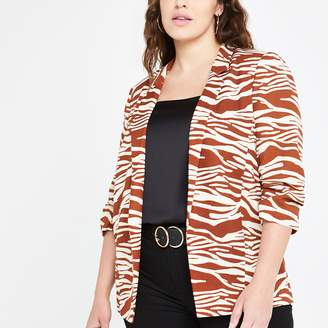 River Island Womens Plus Brown zebra print ruched sleeve blazer