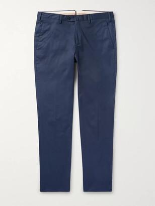Loro Piana Navy Slim-Fit Stretch-Cotton Twill Trousers - Men - Blue