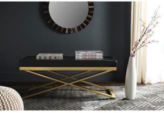 "Safavieh Modern Glam Acra Black/ Faux Crocodile Print Bench - 43.2"" x 18"" x 18"""
