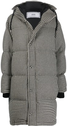 Ami Houndstooth padded coat