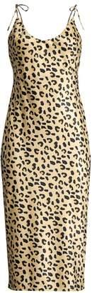 Christina Mestiza New York Aurora Leopard-Print Satin Slip Dress