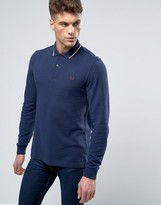Fred Perry Polo Shirt With Long Sleeves In Carbon Blue