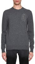 Alexander McQueen Beaded Feather Wool-Cashmere Crewneck Sweater