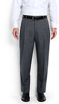 Classic Men's Comfort Waist Pleat Wool Year'rounder Dress Trousers-Mid Gray Glen Plaid