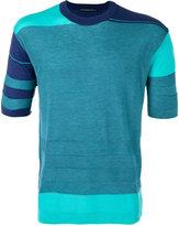 Issey Miyake geometric pattern knitted T-shirt - men - Acrylic/Lyocell - 3