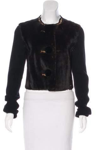 Lanvin Fur Cropped Cardigan