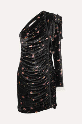 Philosophy di Lorenzo Serafini One-shoulder Floral-print Velvet Mini Dress - Black