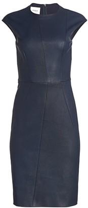 Akris Punto Stretch-Leather Cap-Sleeve Sheath Dress