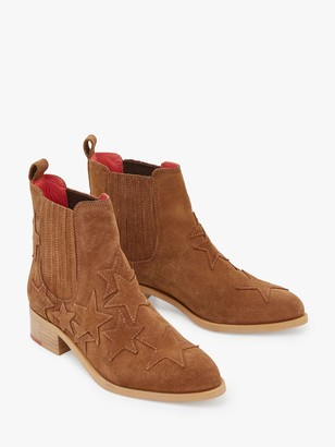 White Stuff Shelly Suede Star Print Ankle Boots, Mid Tan