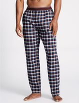 Marks and Spencer Pure Cotton Checked Long Pyjama Bottoms