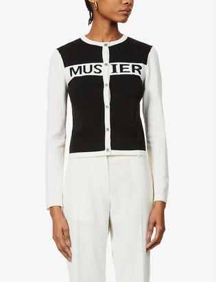 Musier Paris Coco logo-print cotton-knit cardigan