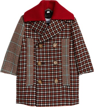 Burberry Kids' Eliot Patchwork Check Wool Blend Coat with Removable Collar