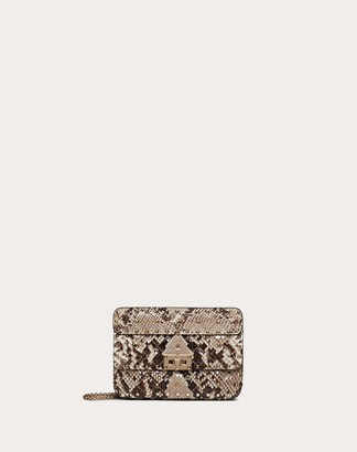 Valentino Small Rockstud Spike Python Skin Bag Women Multicolored Python Skin 100% OneSize