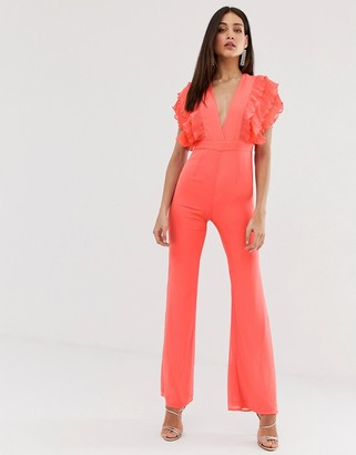 Forever U plunge front jumpsuit in coral