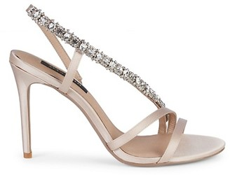 Ava & Aiden Lila Satin Crystal-Strap Slingback Sandals