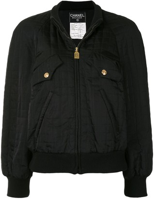 Chanel Pre Owned Choco Bar silk bomber jacket
