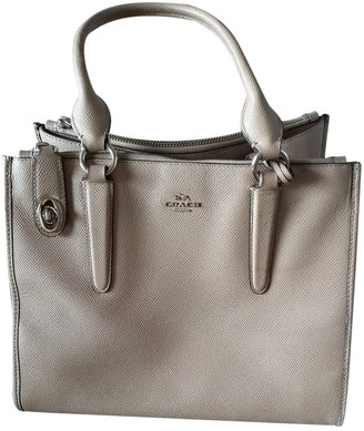 Coach Crossgrain Kitt Carry All Beige Leather Handbags