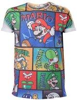Nintendo Super Mario Bros Mario and Friends All-Over Comic Strip Print Men's T-Shirt