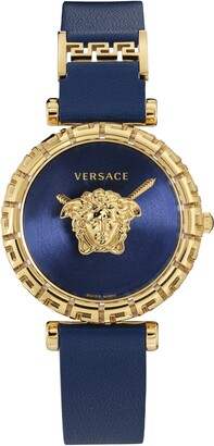 Versace Palazzo Empire Greca Leather Strap Watch, 37mm
