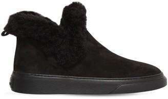 Hogan 60mm Faux Fur Trim Nubuck Ankle Boots