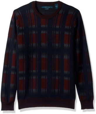 Perry Ellis Men's Winter Cotton Plaid Crew Sweater