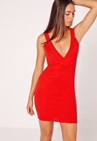 Missguided Ponte Plunge Bodycon Dress Red