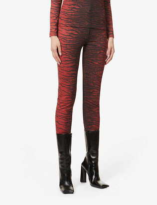 Kenzo Tiger-print skinny high-rise stretch-knit trousers